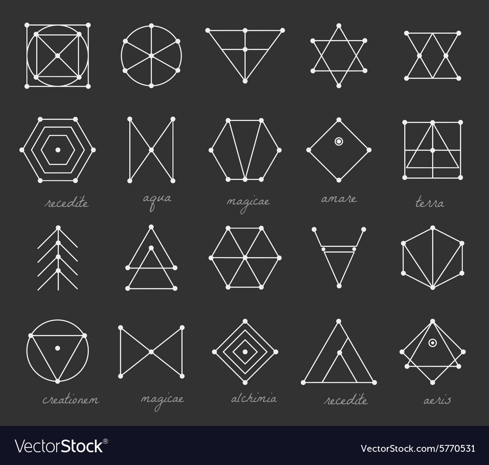 Set of geometric hipster shapes 9225711black vector