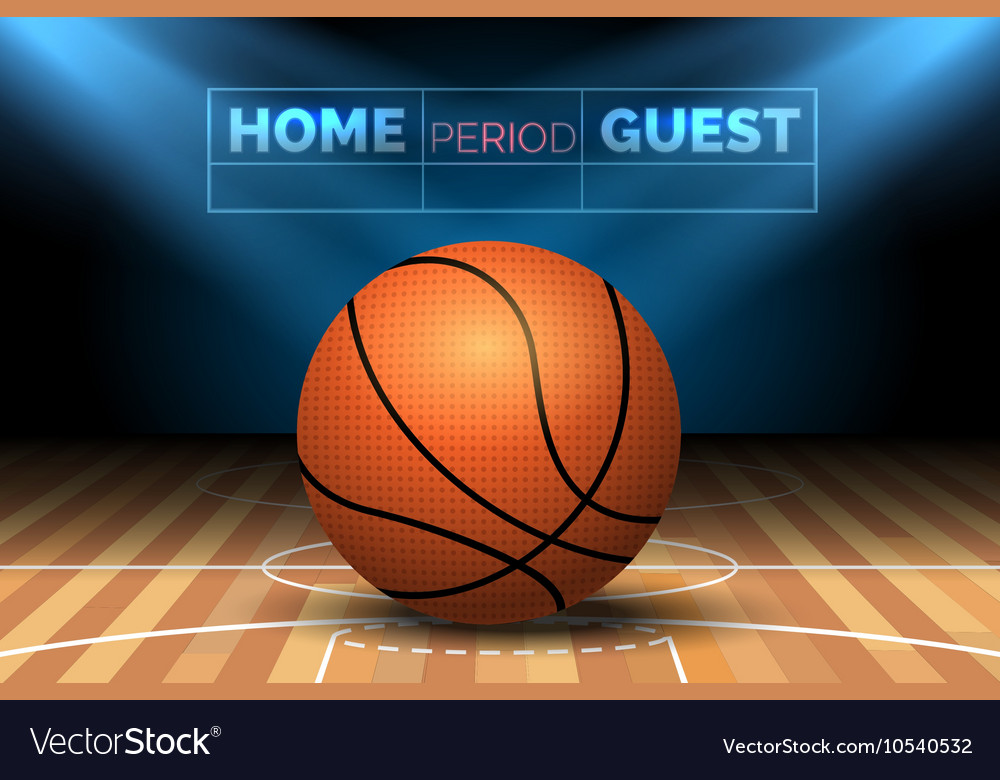 Basketball court with ball vector