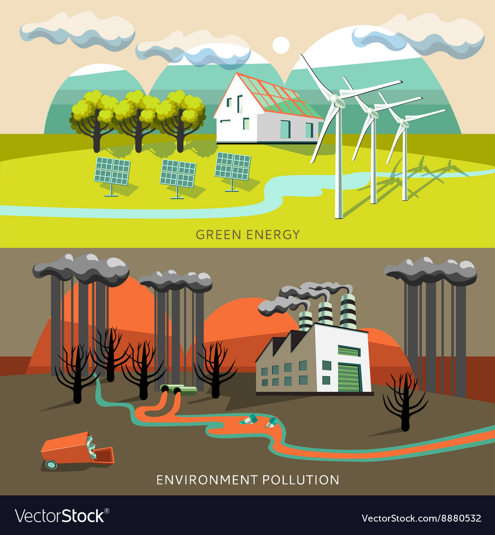 Green energy and environment pollution banners vector