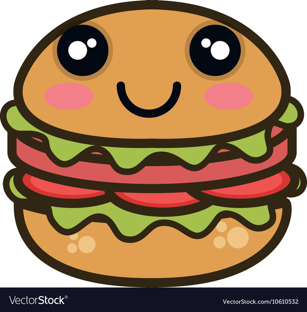 Kawaii cartoon burger fast food vector
