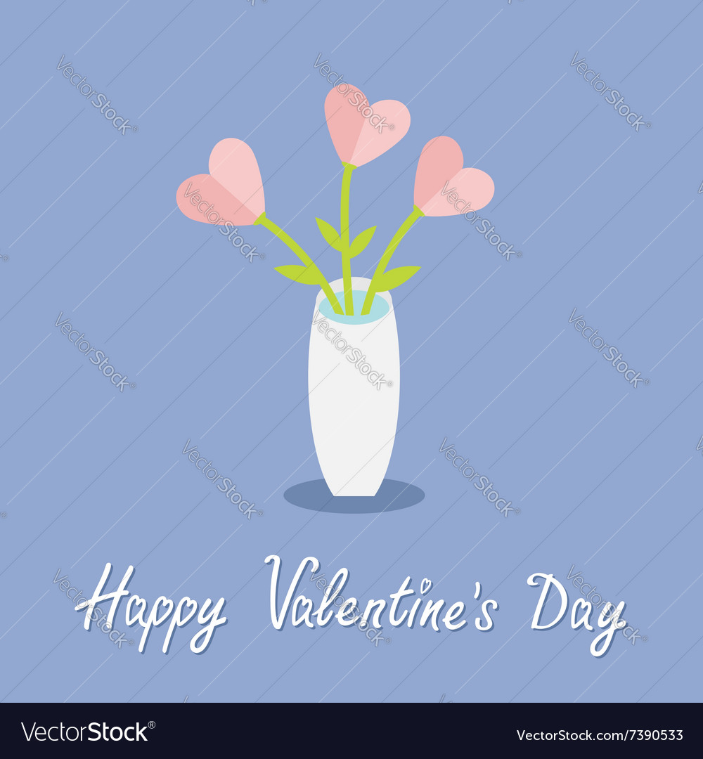 Bouquet of pink heart flowers in a vase happy vector