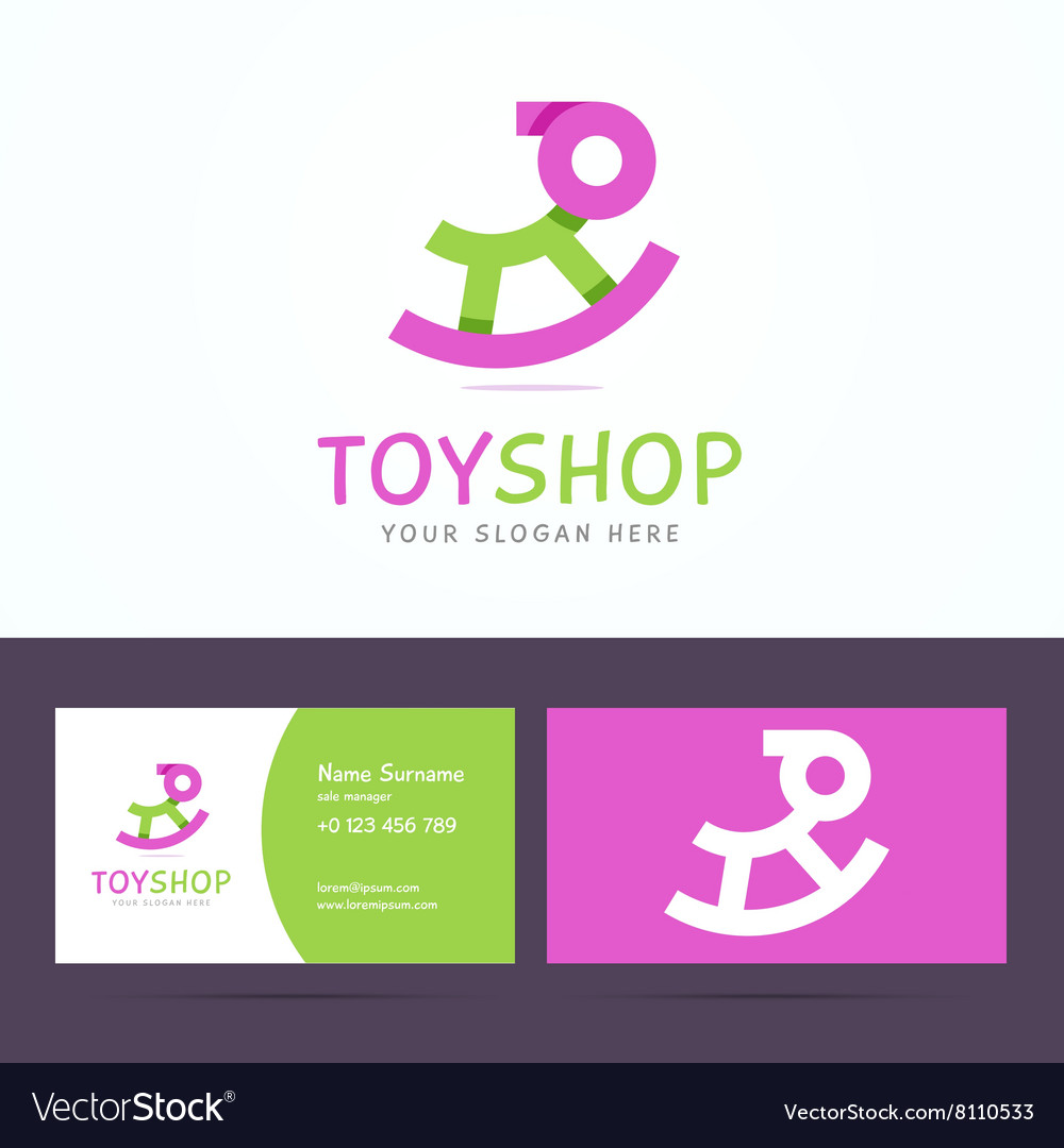 Logo and business card template for toy shop vector