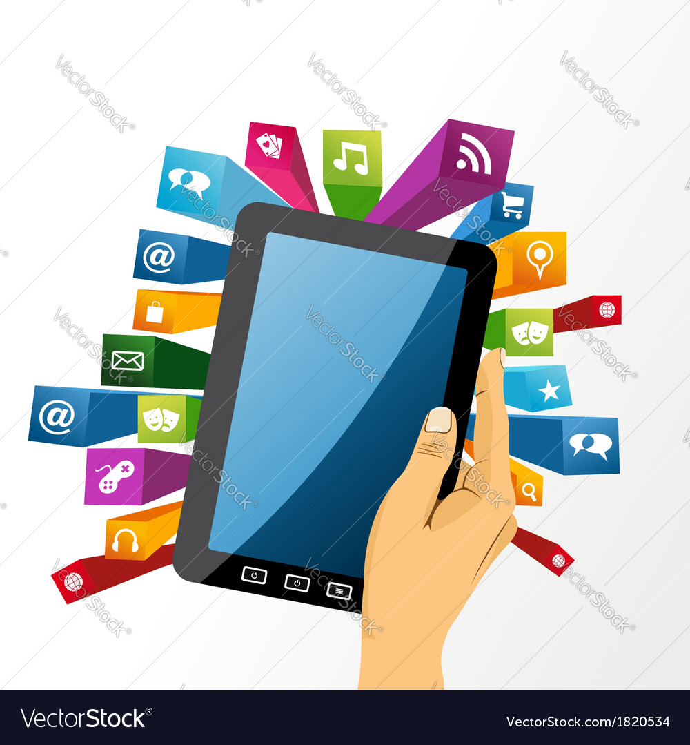 Human hand holds tablet pc with app icons vector