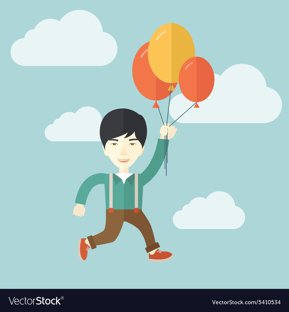 Young japanese man flying with balloons vector