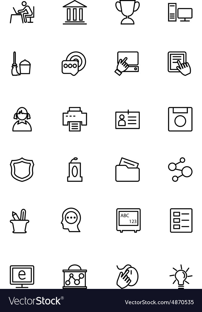 Education line icons 4 vector