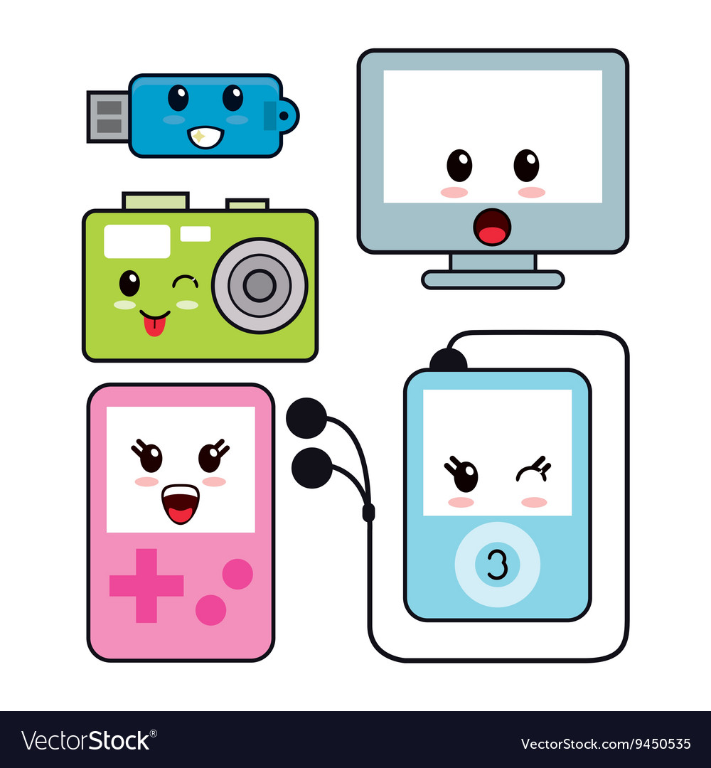 Kawaii icon technology cartoon design vector