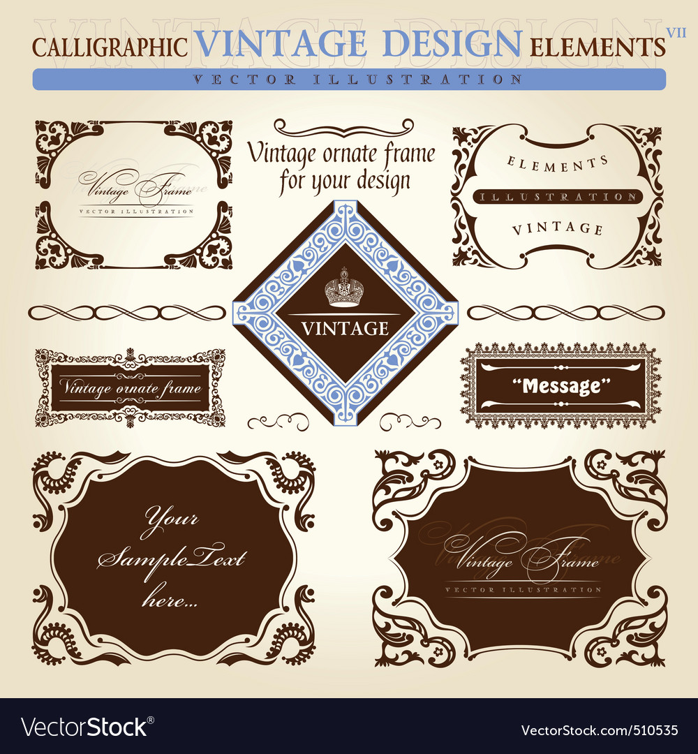 Vintage frame ornament set element decor vector