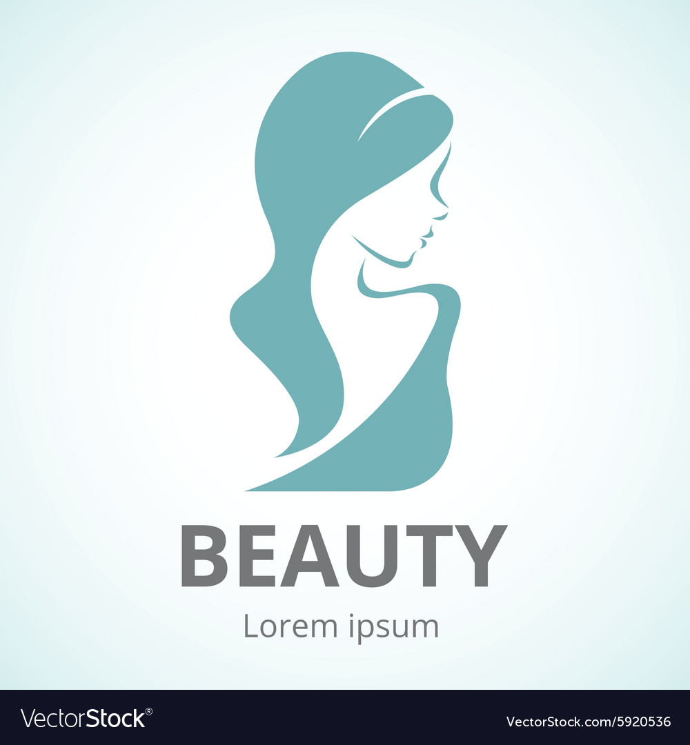 Abstract logo beautiful woman in profile vector