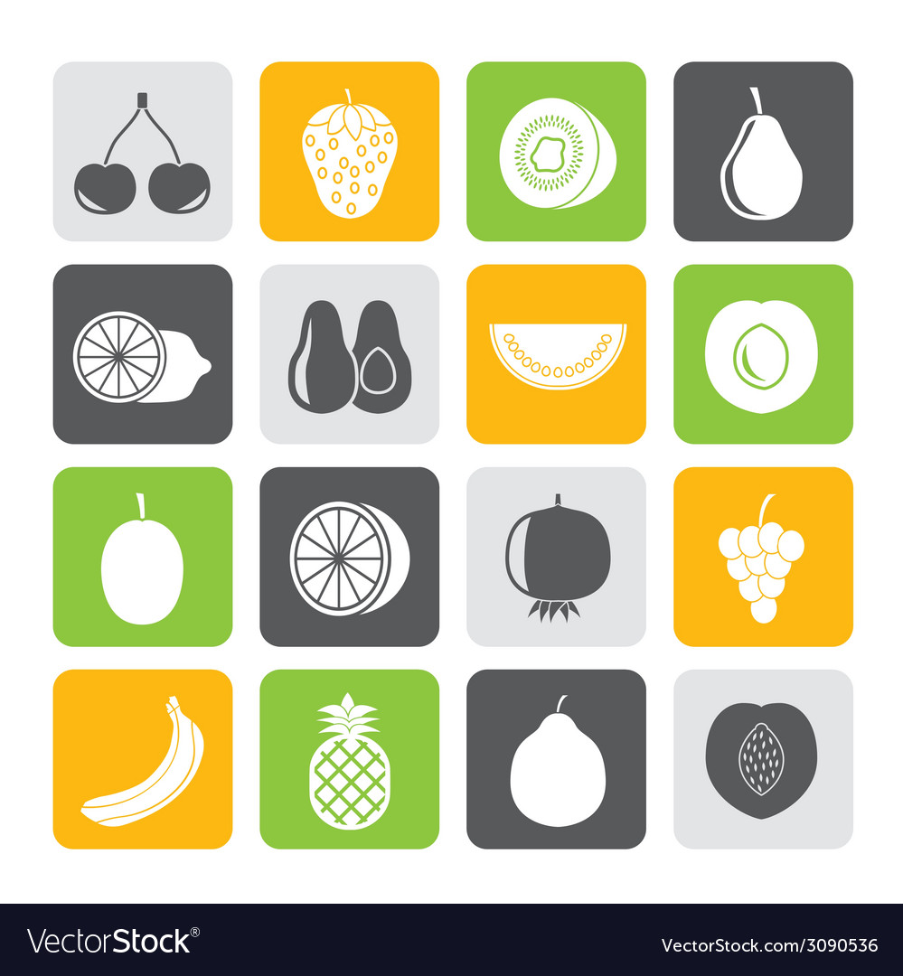 Silhouette different kind of fruit and icons vector