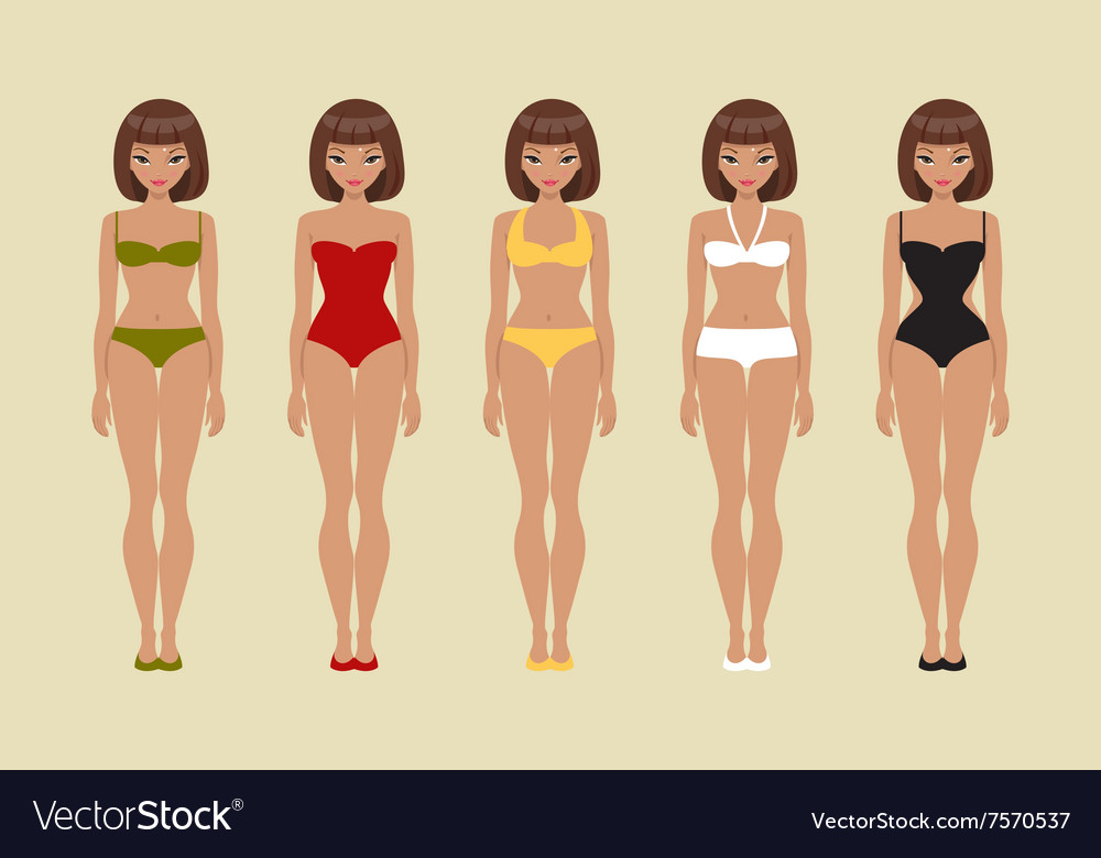 Girl in various swimsuits vector