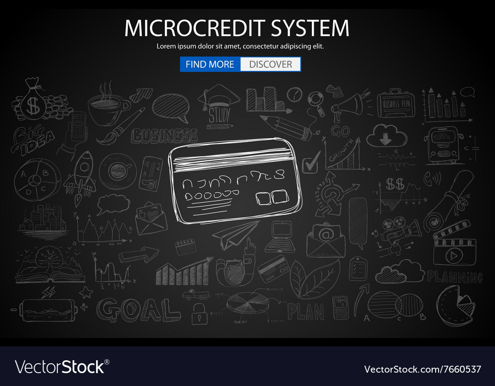 Microcredt systtem concept with doodle design vector