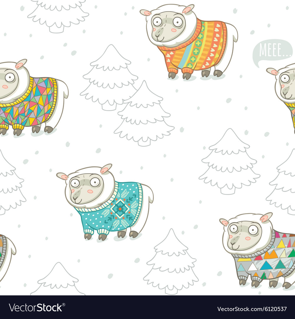 Seamless pattern with cute sheep in knitted vector