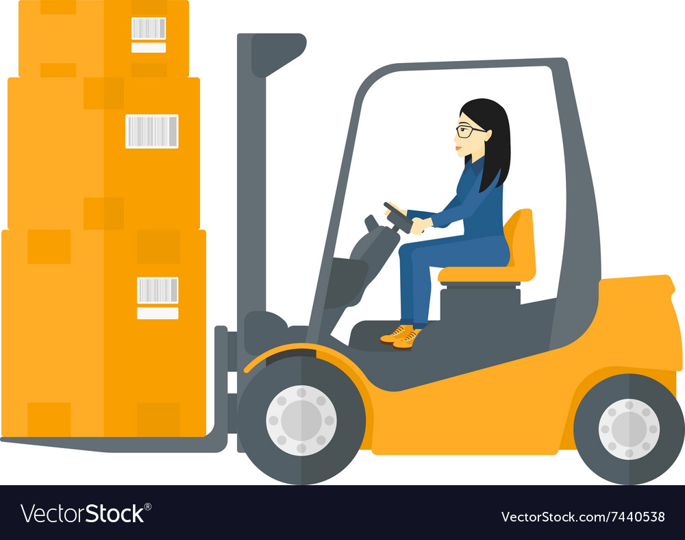 Worker moving load by forklift truck vector