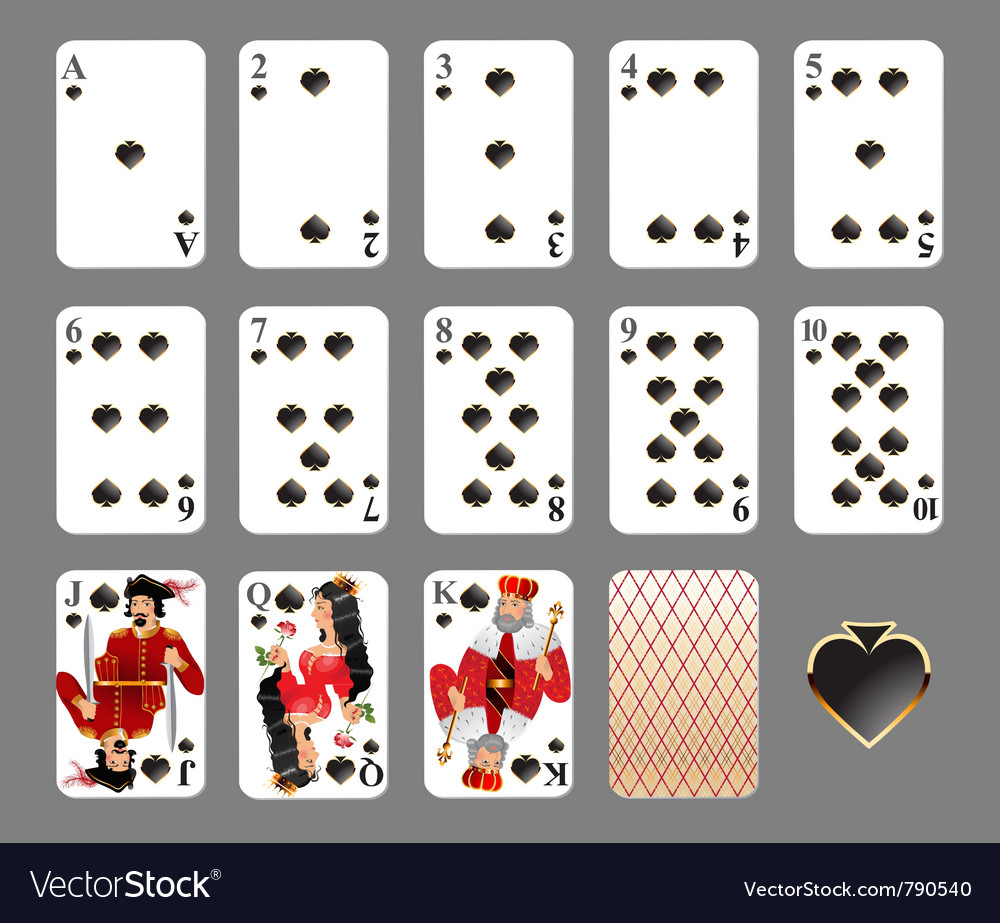 Playing cards  spade suit vector