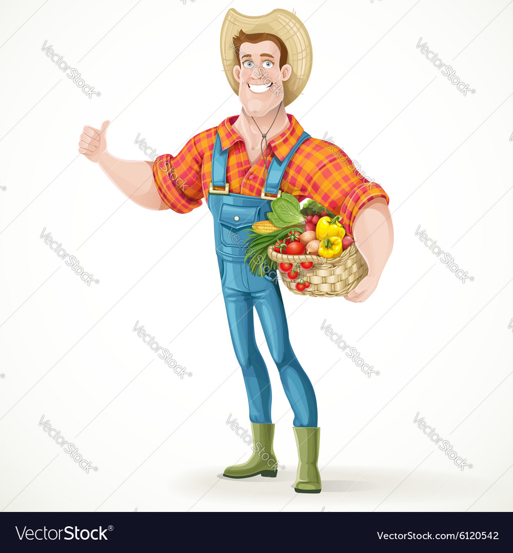 Cute young guy farmer with a big basket of vector