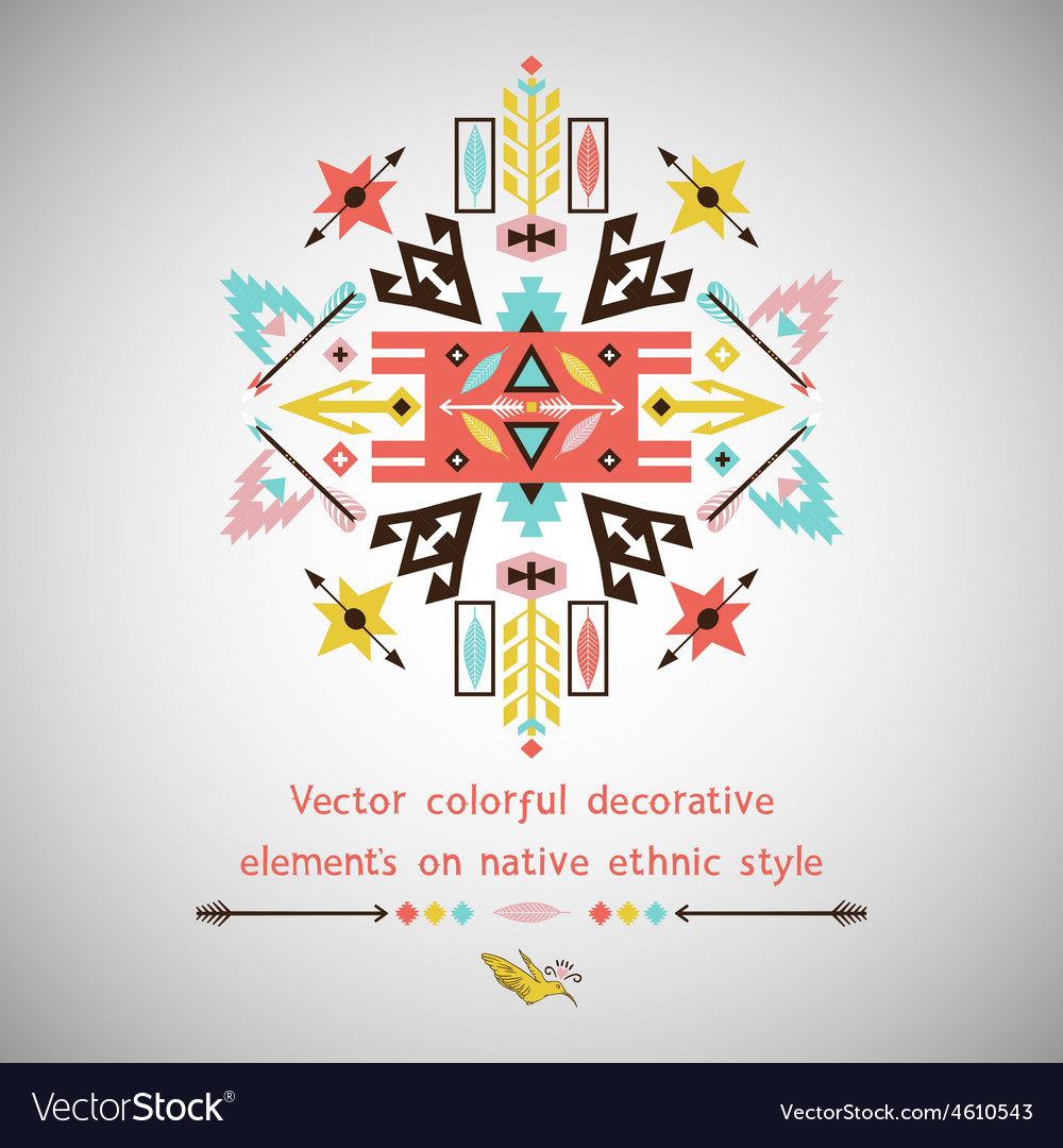 Bright decorative element on aztec style vector