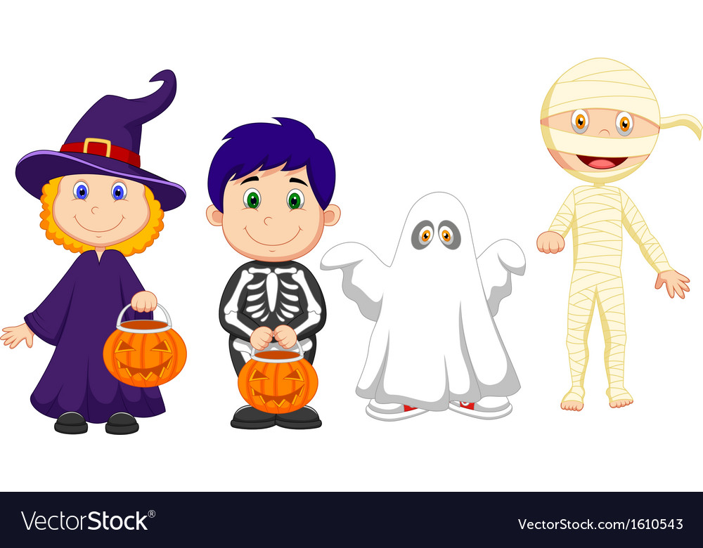 Happy halloween party with children trick or treat vector