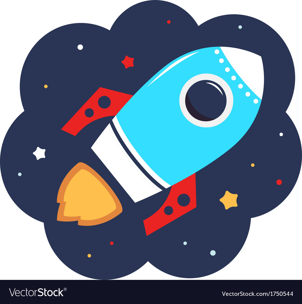 Cute cartoon colorful rocket in space vector