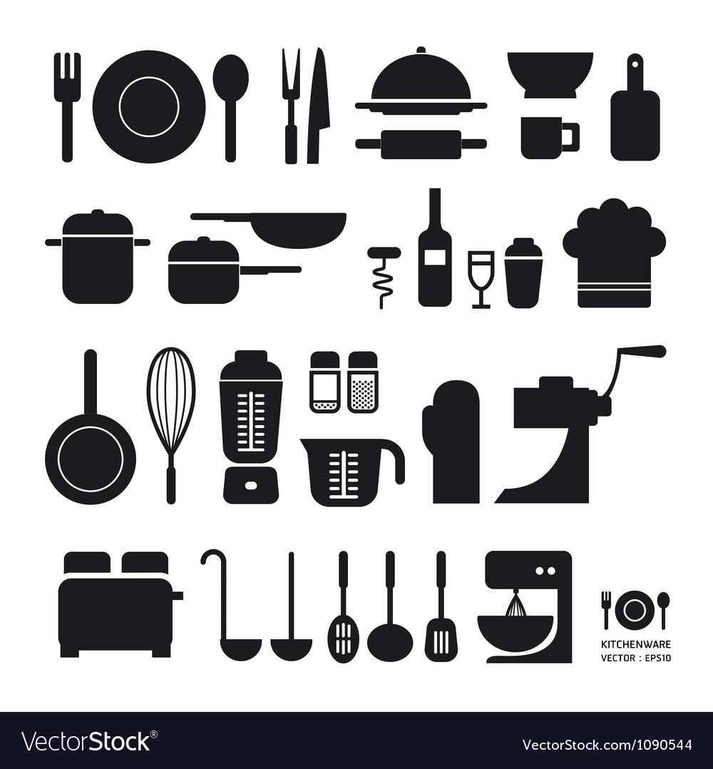 Kitchen tool icons collection vector