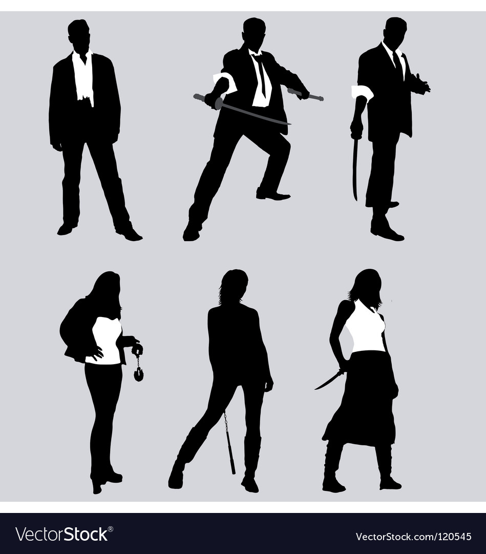 Bad guy silhouettes vector
