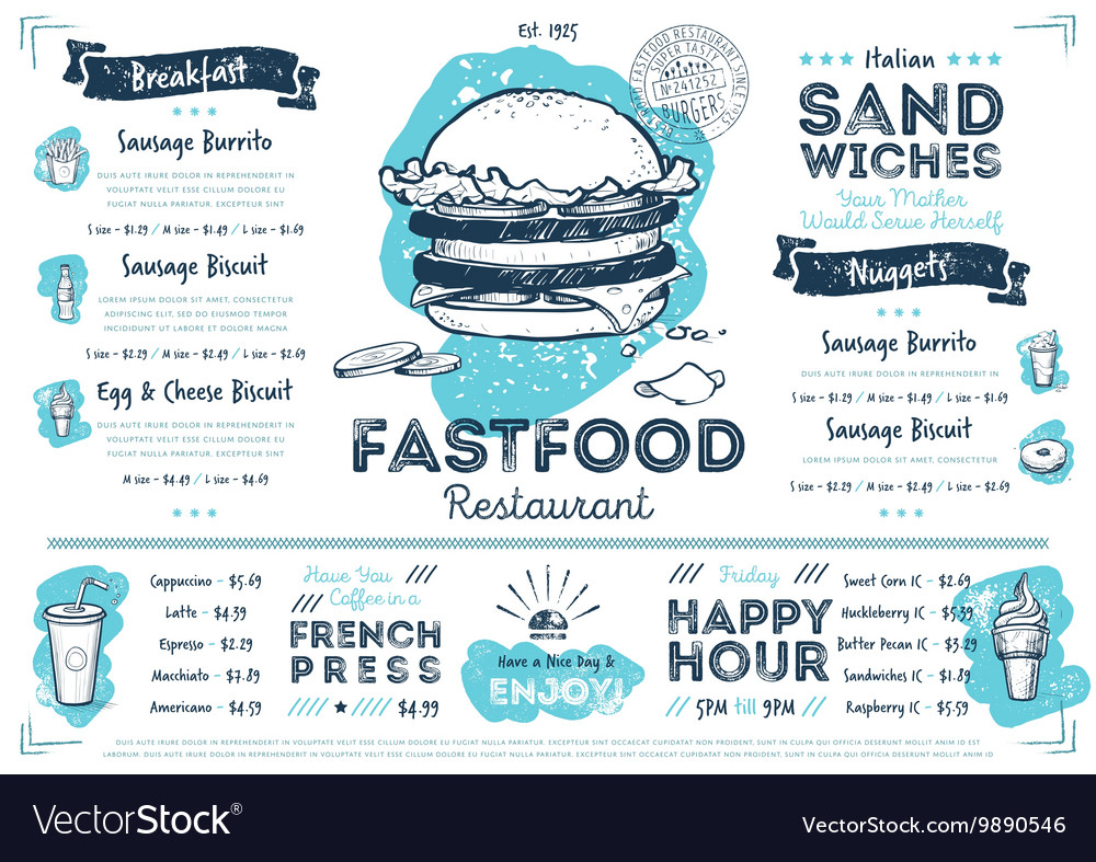 Restaurant cafe fast food menu template vector