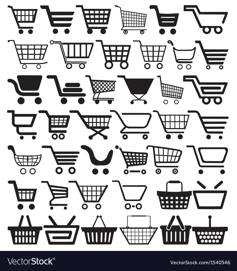 Shopping cart icons vector