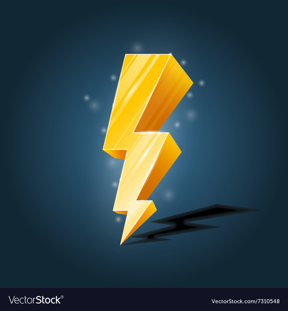 Golden forked lightning icon with sparkles vector