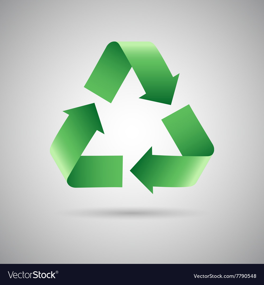Green recycle symbol icon vector