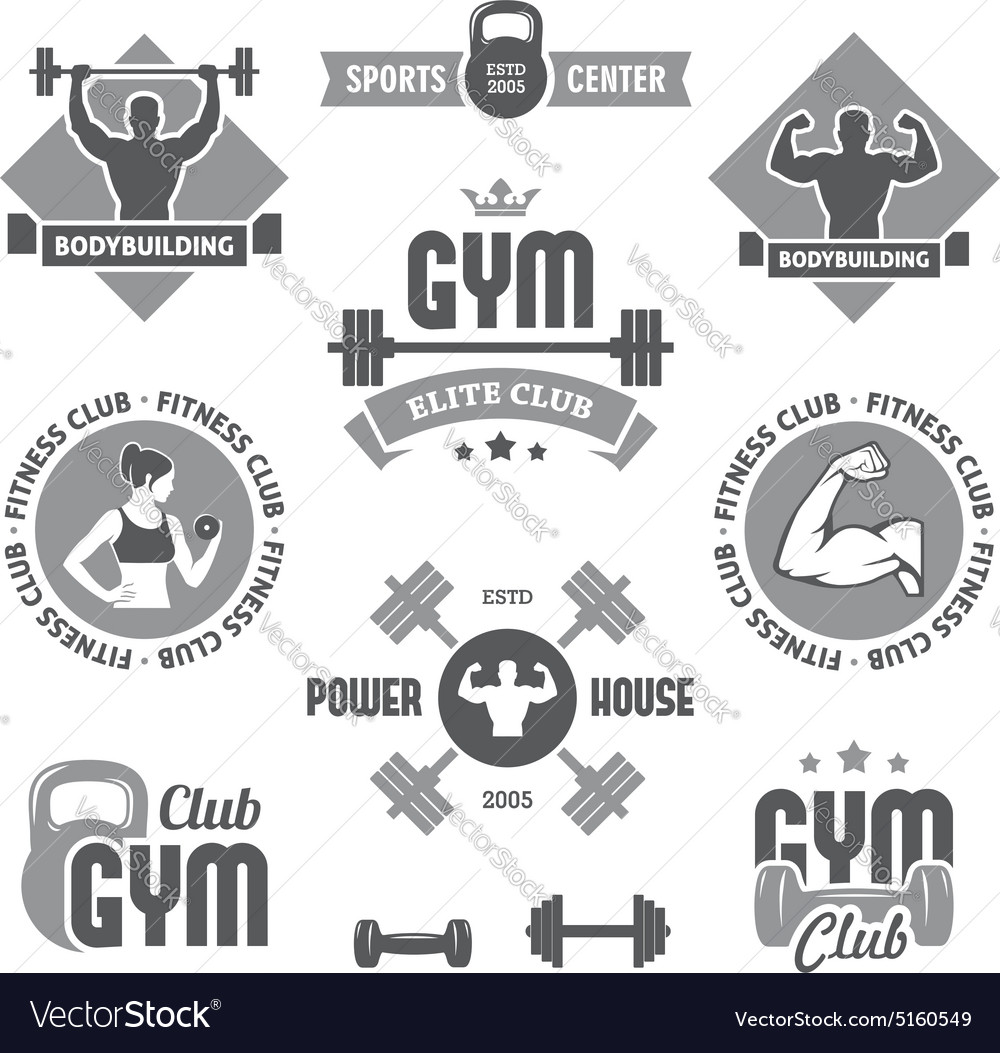 Monochrome gym labels vector