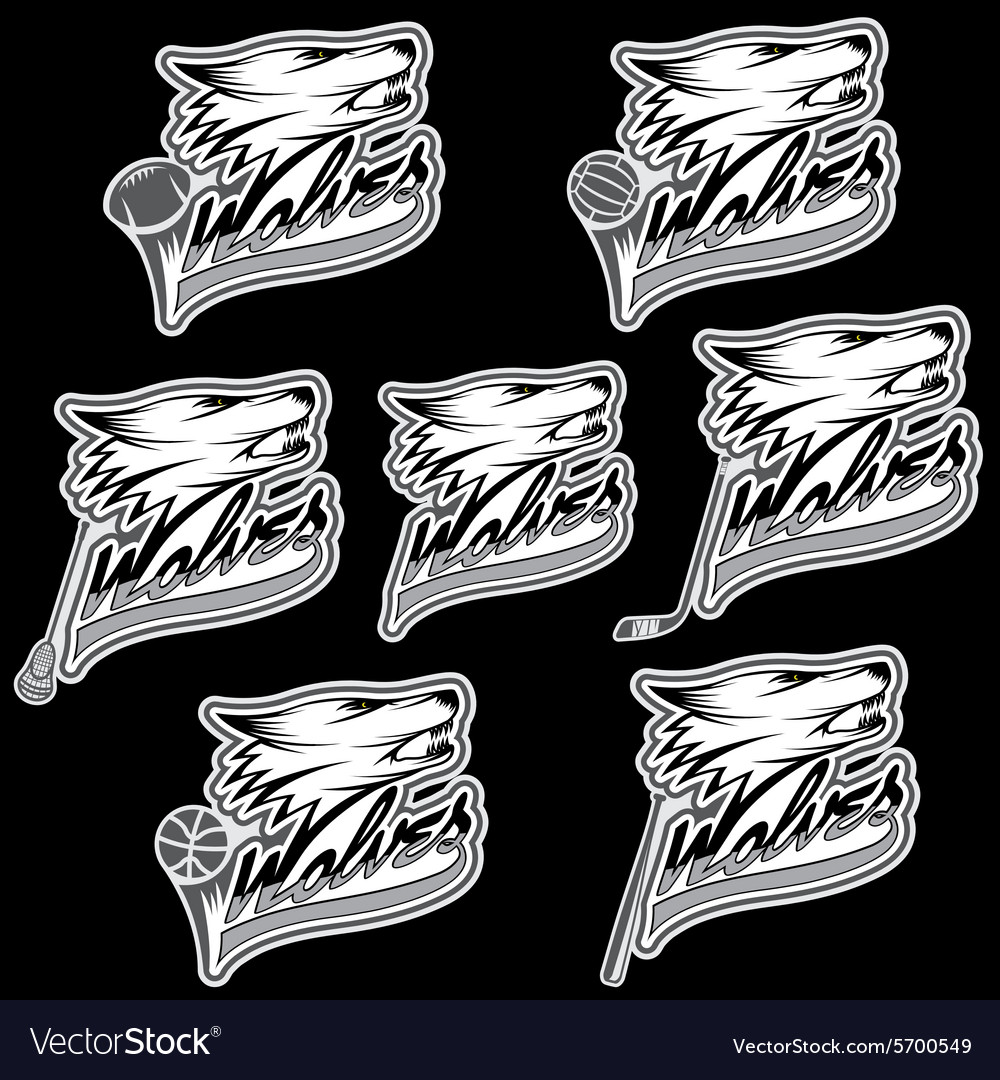 Set of wolf sports labels vector