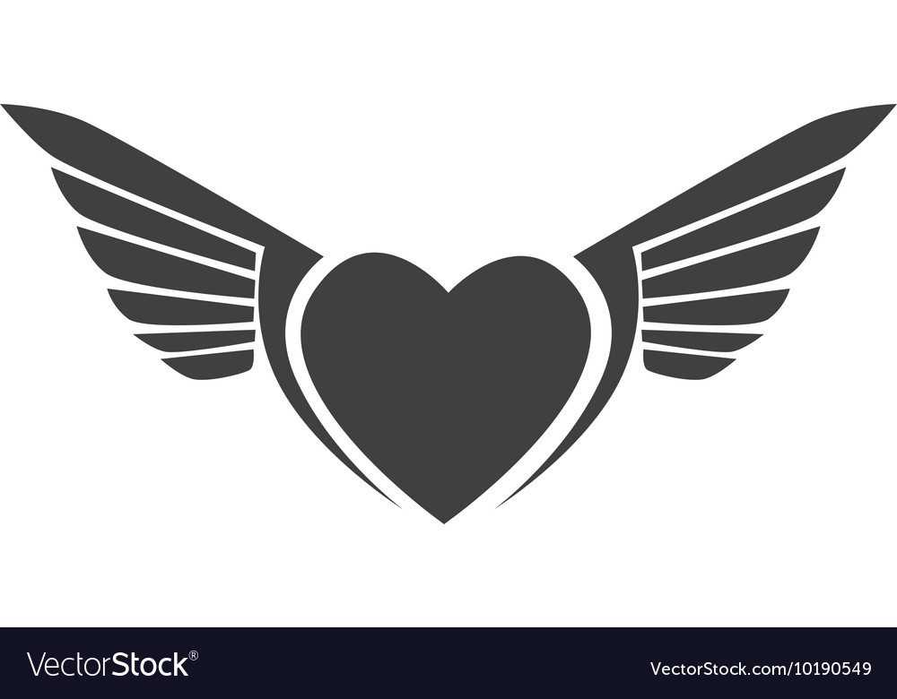 Wing heart love stripes icon graphic vector
