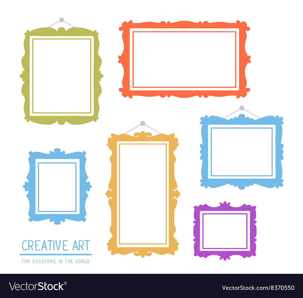 Colorful set of frames isolated on white vector