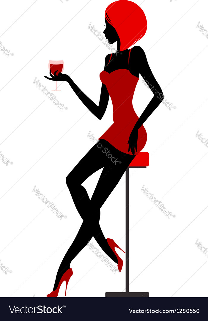 Girl sits in bar with glass in hand vector