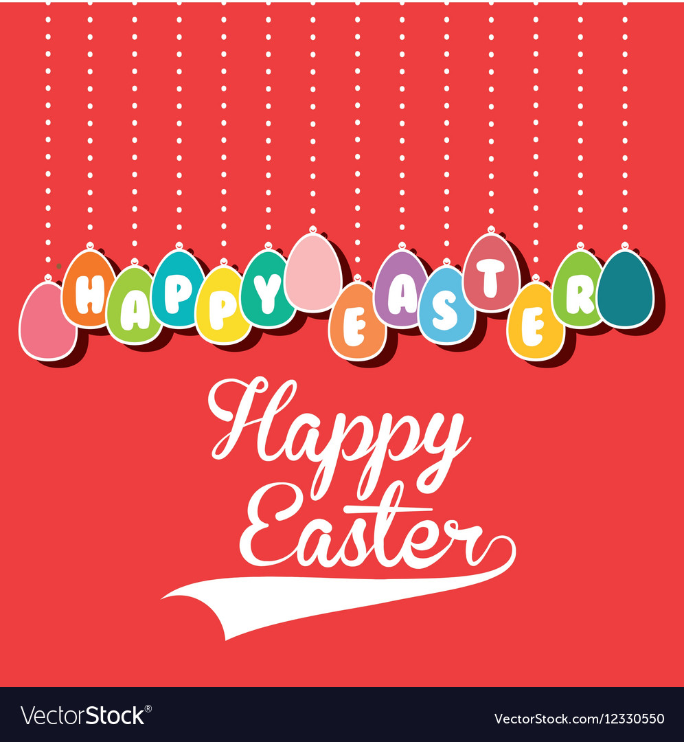 Happy easter cute card vector
