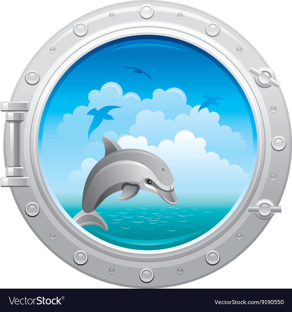Porthole icon with sea sky summer landscape and vector