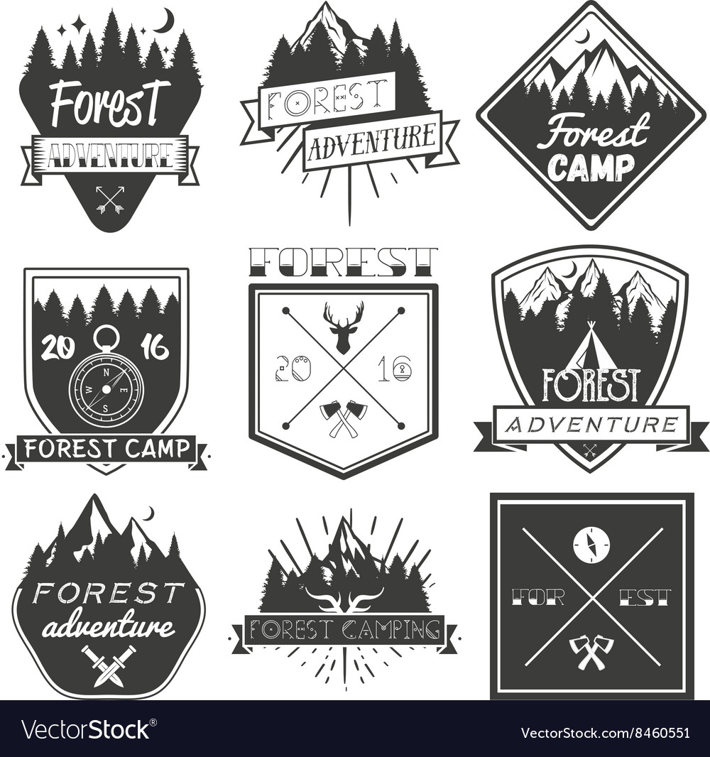 Set of forest camp labels in vintage style vector