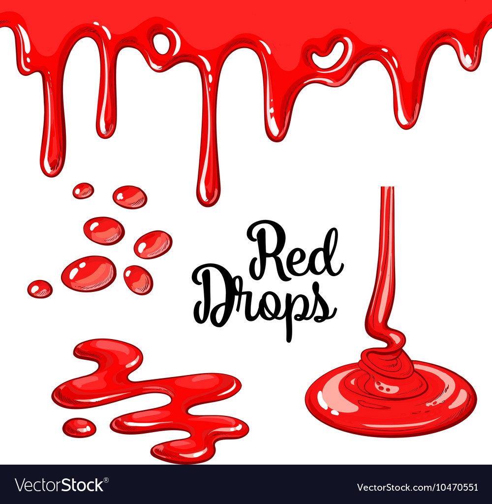 Set of red drops and blots isolated on white vector