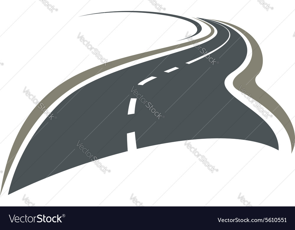 Winding road disappearing beyond the horizon vector