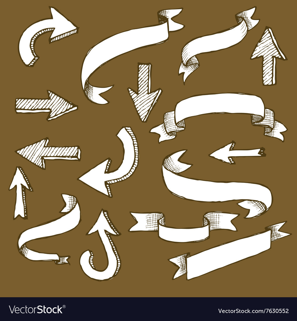 Sketch ribbons and arrows vector