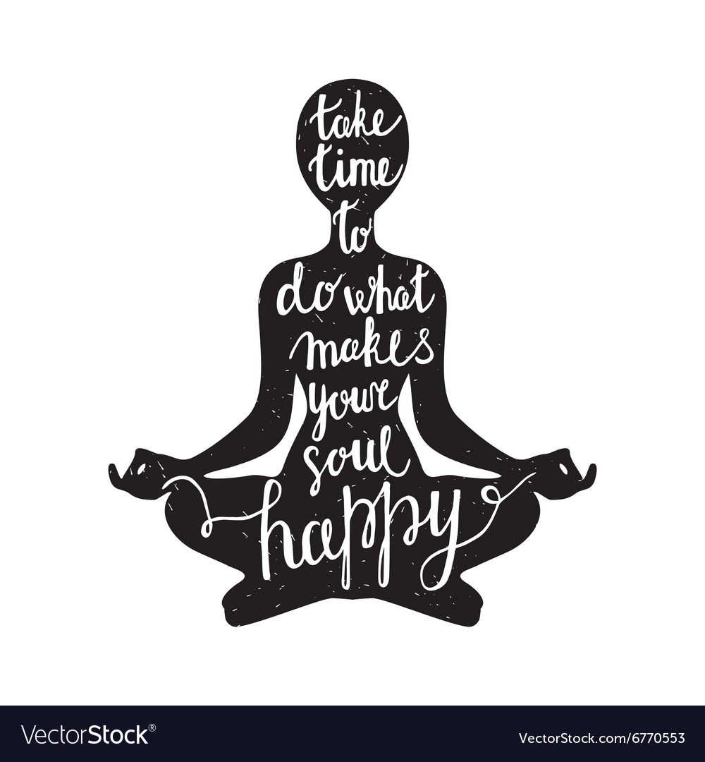 Meditation silhouette with quote vector