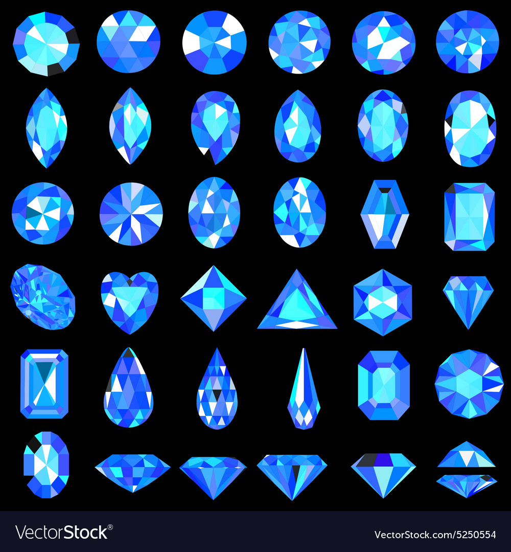 Set of blue gems of different cuts a vector