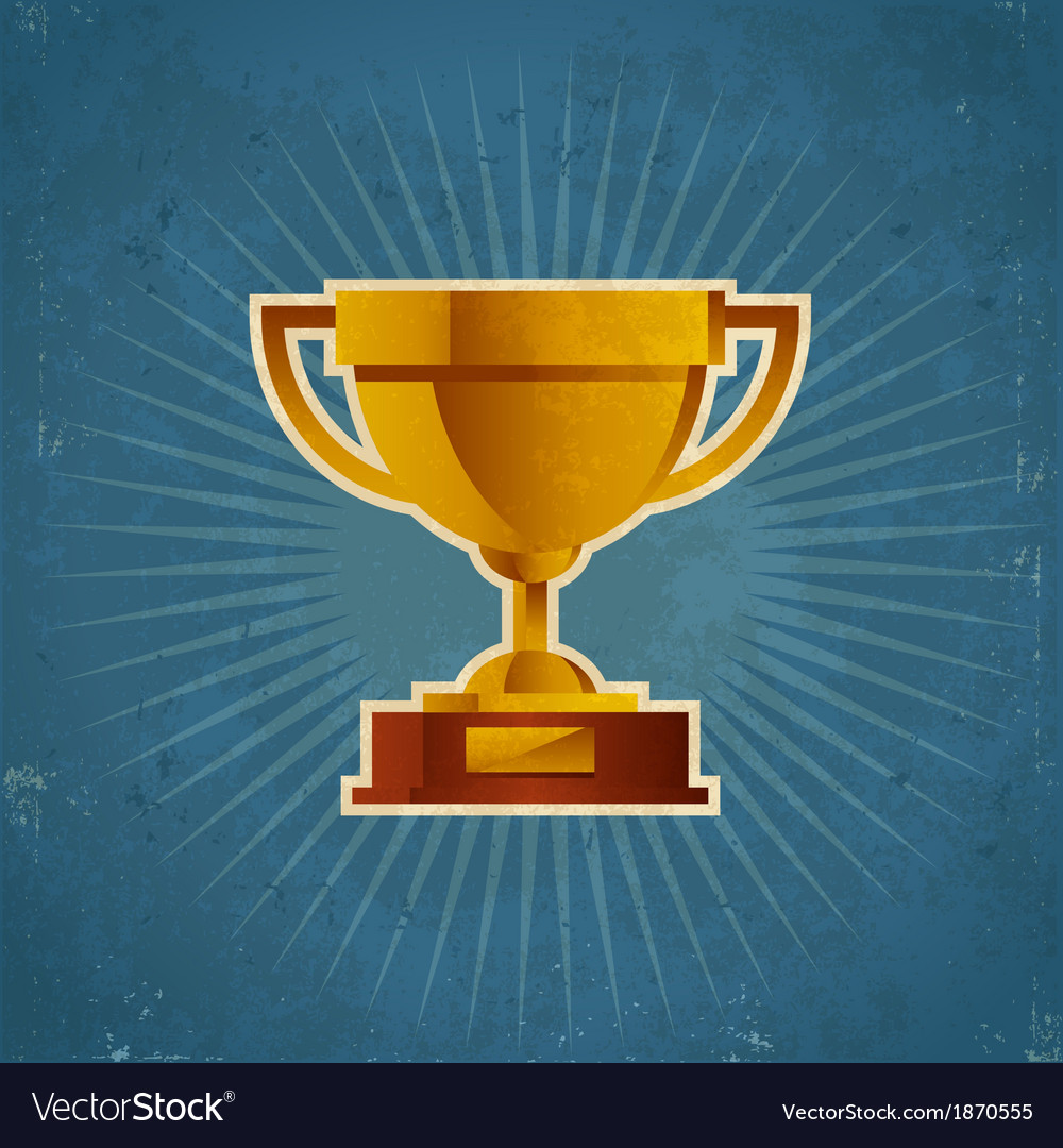 Gold retro cup trophy vector