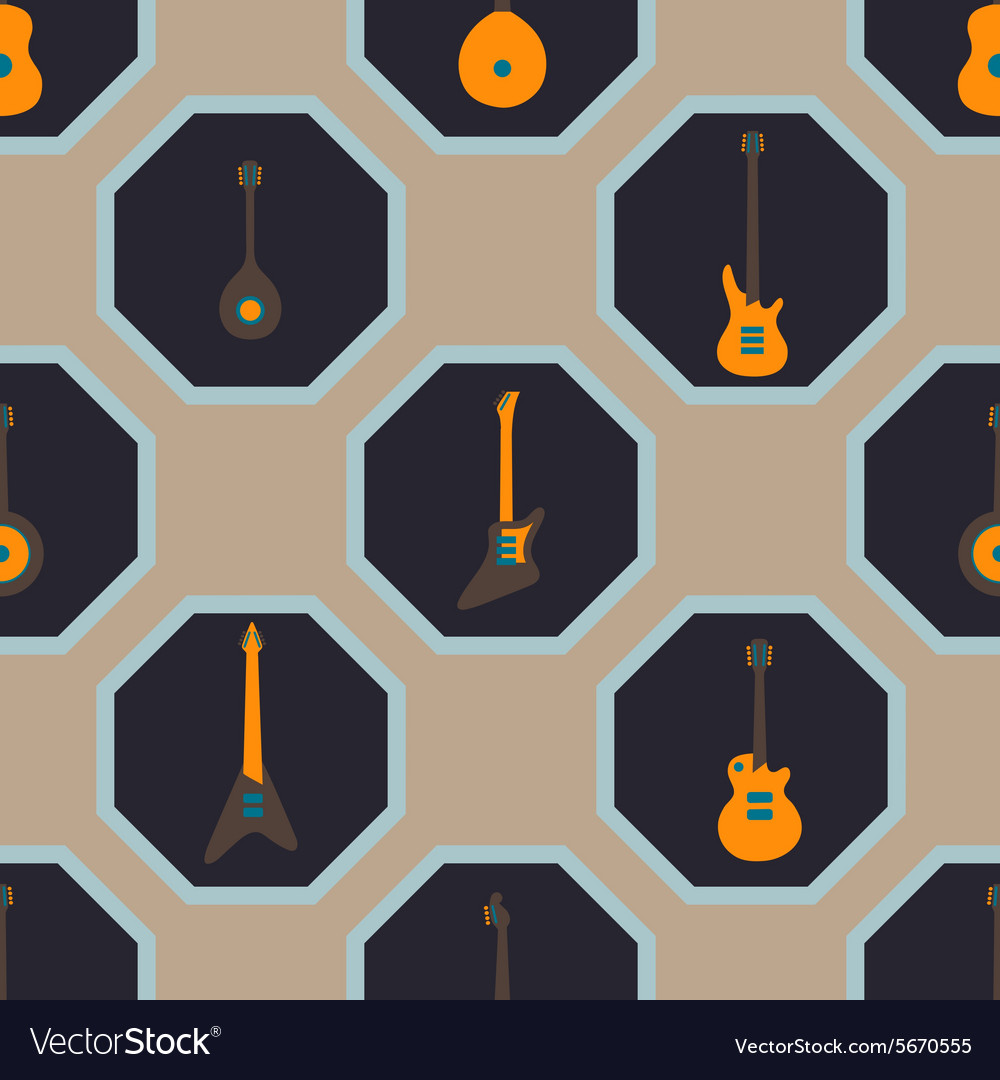 Seamless background with guitars vector