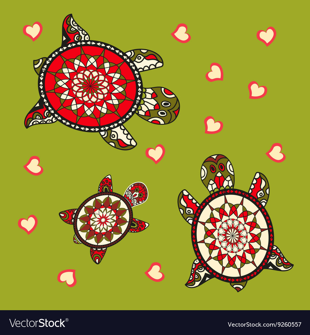 Family of sea turtles vector