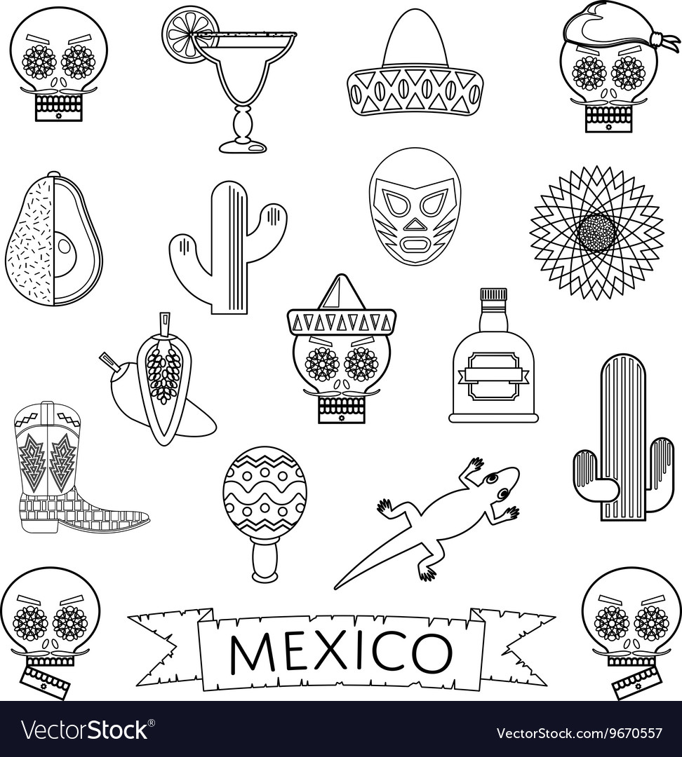 Mexican line icons vector
