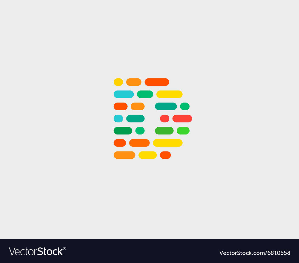 Abstract letter d logo dynamic code vector