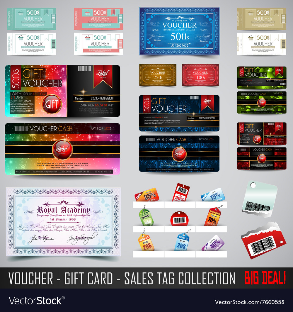 Big collection of voucher gift card layout vector