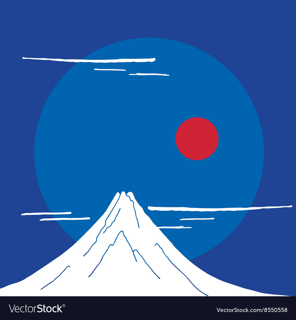 Mountain fuji at night japanese landscape vector