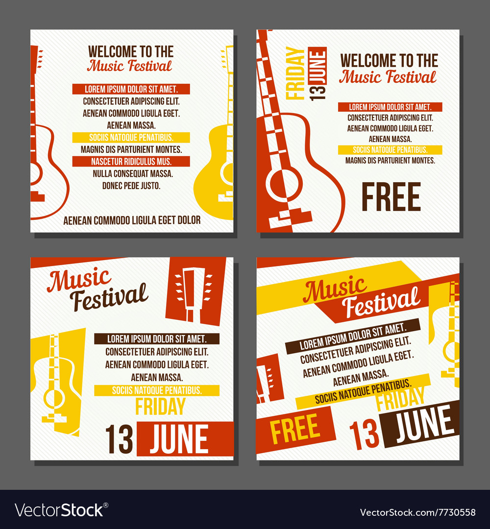 Set of musical flyers vector