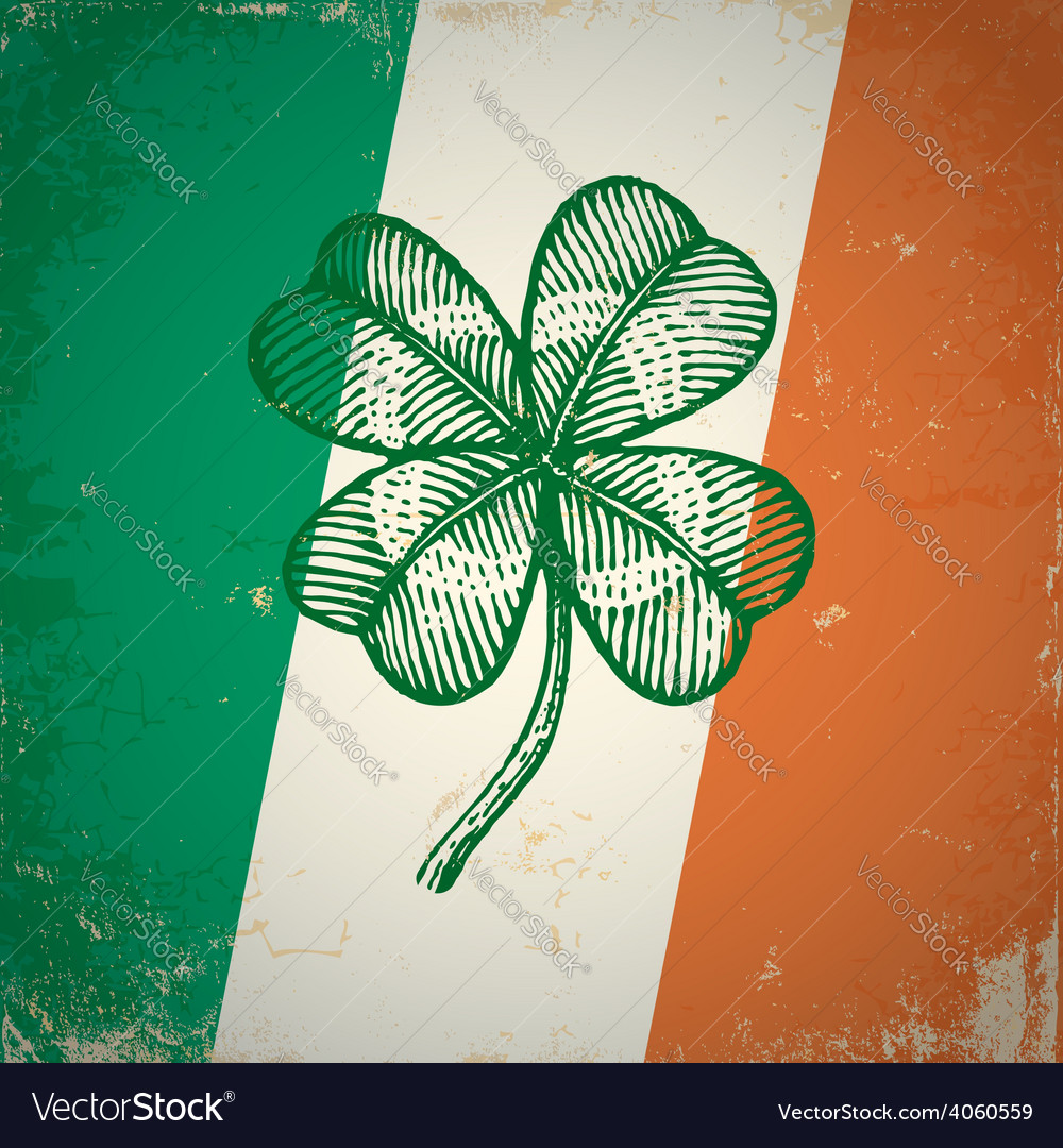 Clover irish grunge vector